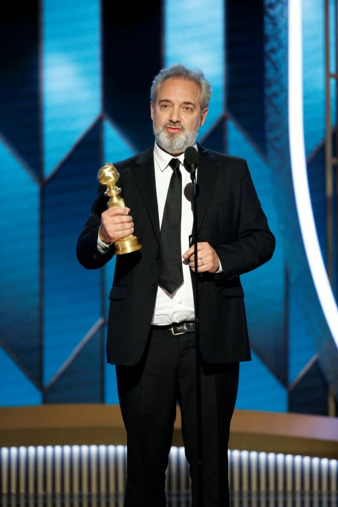 Sam Mendes accepting the award for best director for the film 1917 at the 77th Annual Golden Globe Awards at the Beverly Hilton Hotel in Beverly Hills, Calif., on Sunday. -