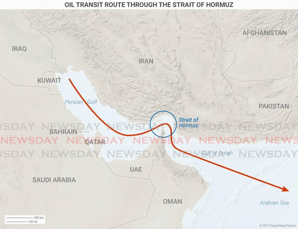 Oil transit route through the Strait of Hormuz. While the US has not imported oil from Iran since 1991, the Iranians can threaten the Strait of Hormuz, a key transit point connecting the Persian Gulf to the Gulf of Oman and through which 20 per cent of the world's oil passes. Image taken from geopoliticalfutures.com -