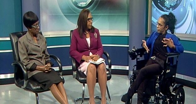 Social Development Ministry Permanent Secretary Jacinta Bailey- Sobers, centre, and director of the Disability Affairs Unit Sharon Rogers, left, with Shamla Maharaj. - Ministry of Social Development