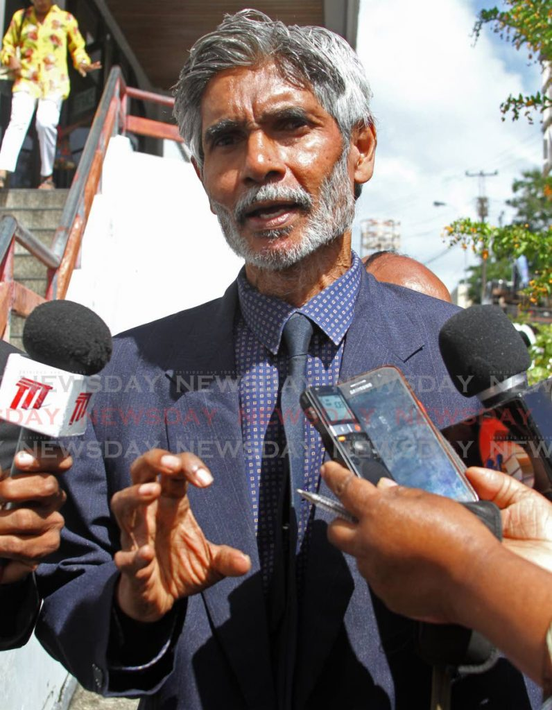 Dr. Wayne Kublalsingh and members of the Highway re-route movement attended the San Fernando High Court on Friday. Photo by  - Marvin Hamilton