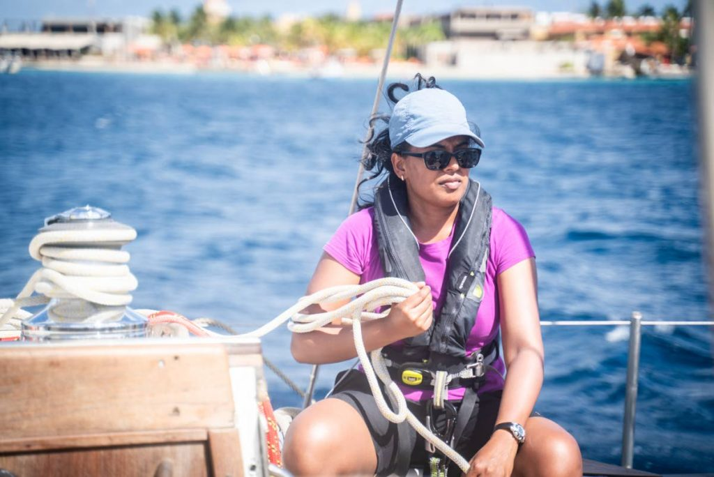 Dr La Danna Kanhai on board the SV TravelEdge as part of eXXpedition's all female Round the World Voyage. Photo courtesy JR Imaging -
