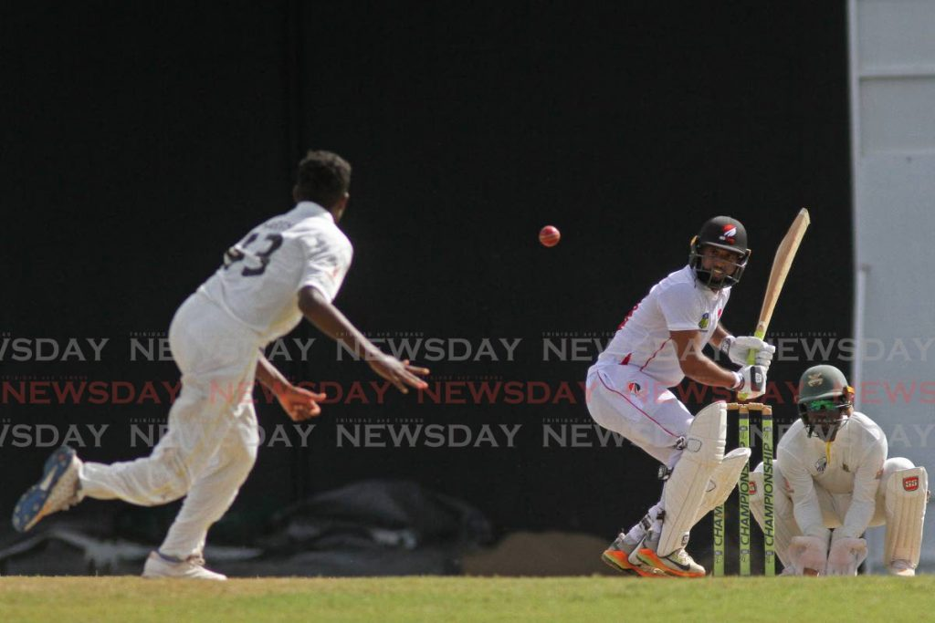 Red Force batsman Yannic Cariah at the crease against Jamaica Scorpions on Friday.  - Marvin Hamilton