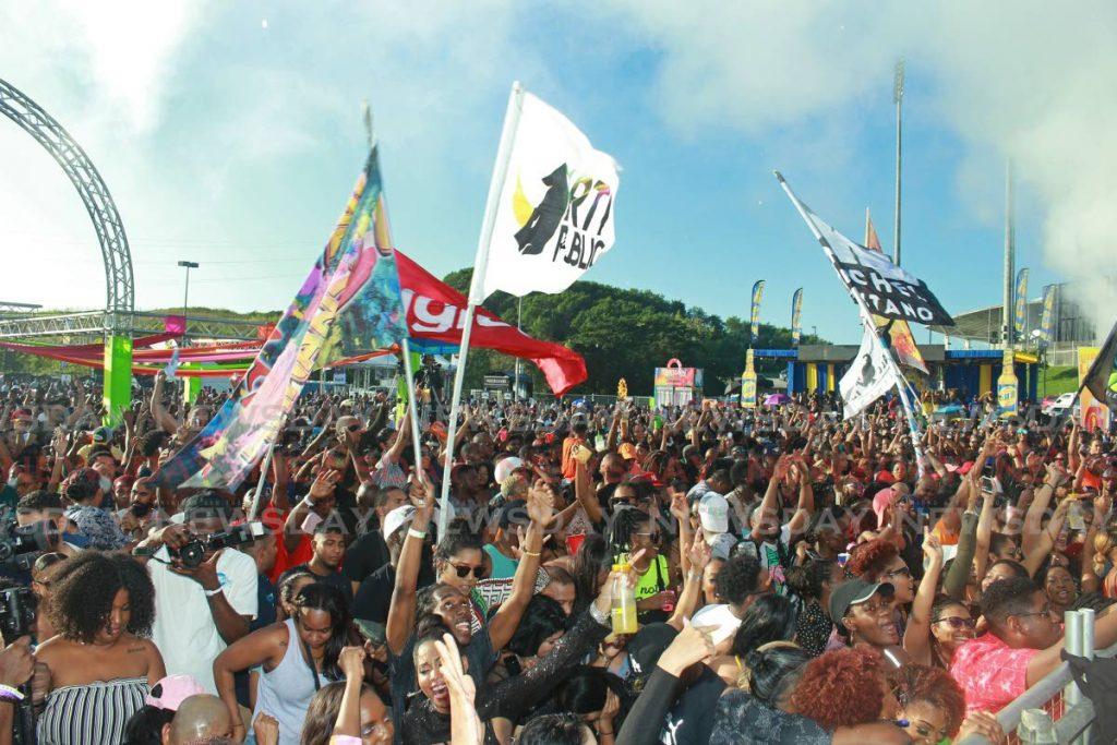 Thousands have a blast at the Black 2 Blue Breakfast Party, Brian Lara Stadium, Tarouba. - CHEQUANA WHEELER