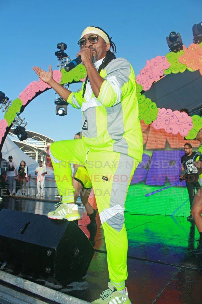 Machel Montano during his performance at Black 2 BLue Breakfast Party, Brian Lara Cricket Academy, Tarouba on Saturday. - CHEQUANA WHEELER