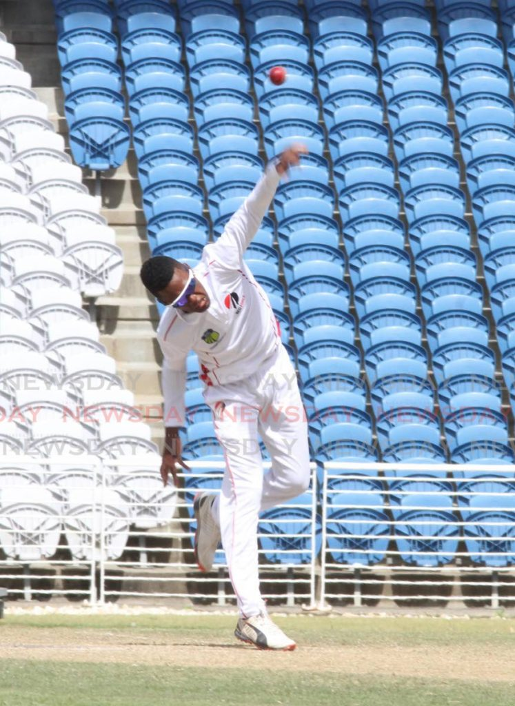 All-rounder Akeal Hosein, of the TT Red Force bowls against the Jamaican Scorpions, on Saturday, during the CWI Four-Day Regional tournament, at the Grenada National Stadium. - Vashti Singh
