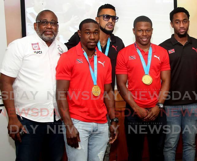 New TT Cycling Federation president Joseph Roberts, left, along with Keron Bramble, Njisane Phillip, Nicholas Paul and Jabari Whiteman at the TT Olympic House at a press conference in August, 2019. - SUREASH CHOLAI