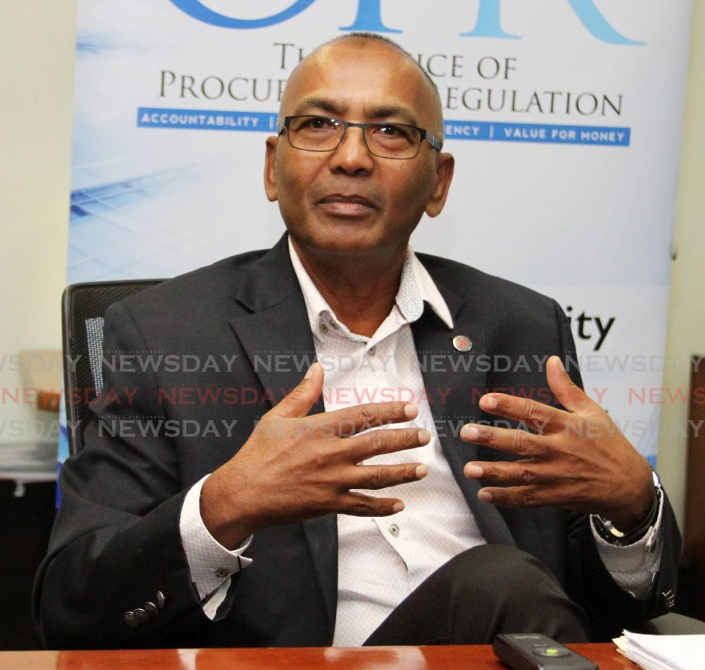 Procurement Regulator Moonilal Lalchan speaks with Newsday at the Office of Procurement Regulation at the International Waterfront Centre, Port of Spain on Monday. - ANGELO MARCELLE