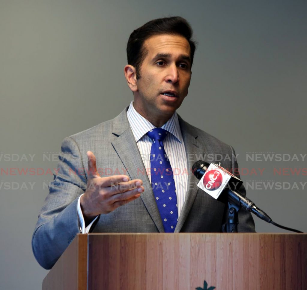 Attorney General Faris Al-Rawi speaks to the media about the High Court ruling on the Sedition Act at his office at Government Campus, Port of Spain on Monday.  - Sureash Cholai