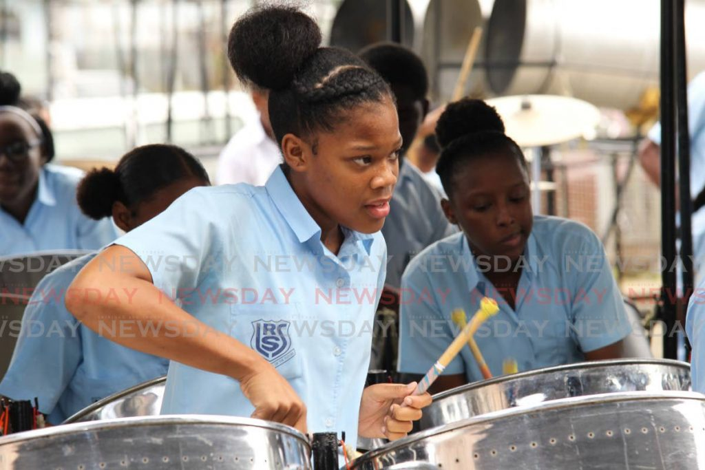 La Romaine Secondary School performs Kees Dieffenthaller's Savannah Grass at Hatters panyard, Lady Hailes Avenue, San Fernando in the preliminary round of  the Junior Panorama Secondary School Competition on Tuesday. - Lincoln Holder