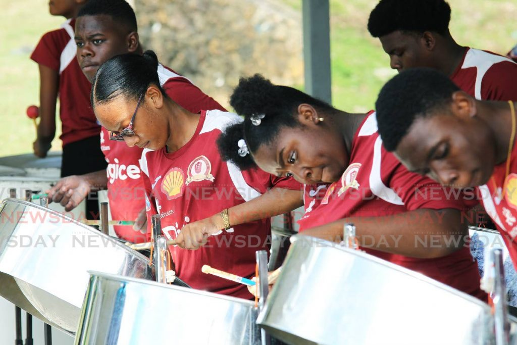 Pleasantville Secondary performs Trouble in the Morning by Jevaughn Jones at the school's compound  in the preliminary round of  the Junior Panorama Secondary School Competition on Tuesday. - Lincoln Holder