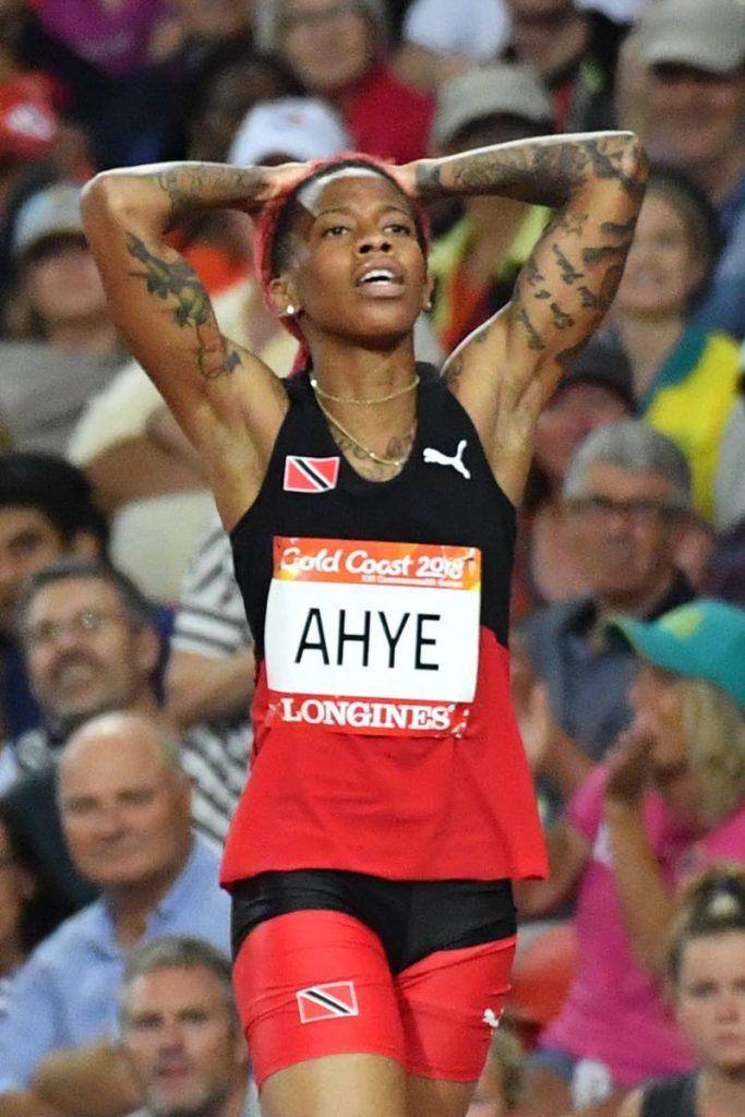 In this Apr 9, 2018 file photo, TT's Michelle-Lee Ahye reacts after winning the athletics women's 100m final during the 2018 Gold Coast Commonwealth Games at the Carrara Stadium on the Gold Coast. (AFP PHOTO) -