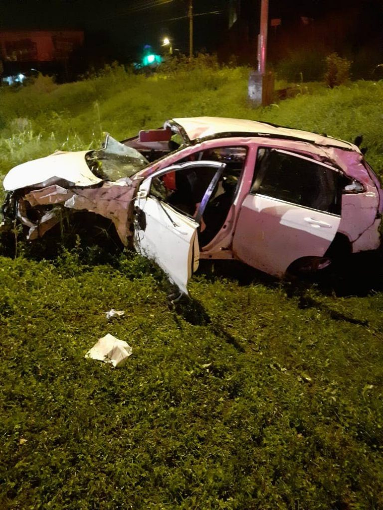 The crashed vehicle believed used in the botched kidnapping of Dr Rudradeva Sharma and his colleague. -