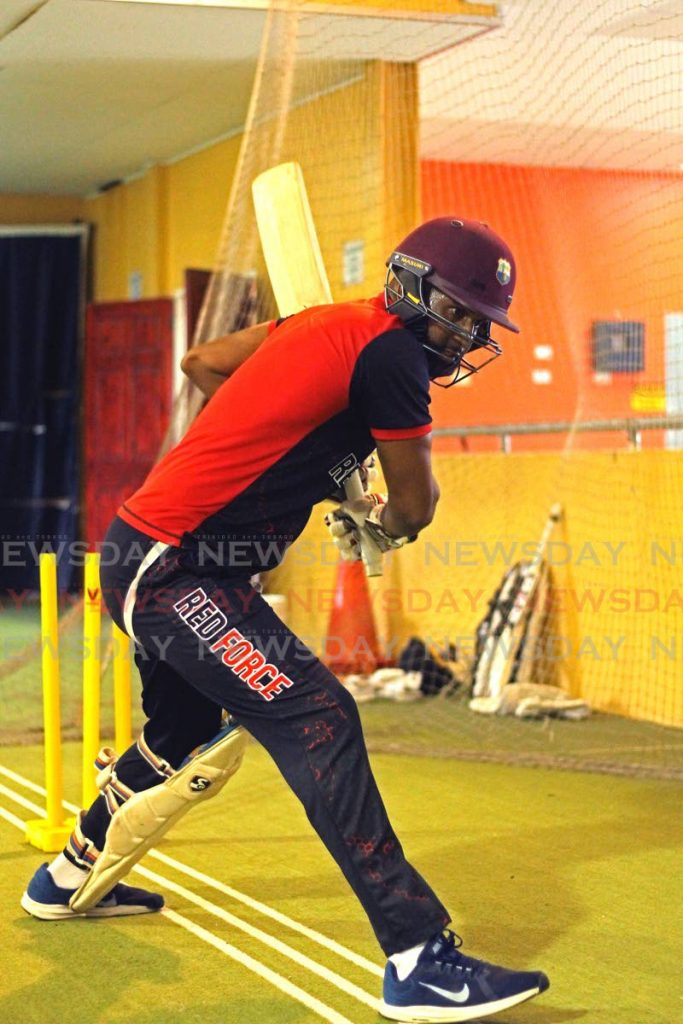 TT Red Force's Yannic Cariah bats during a training session, at the National Cricket Centre, Counva, on Wednesday.  - Marvin Hamilton