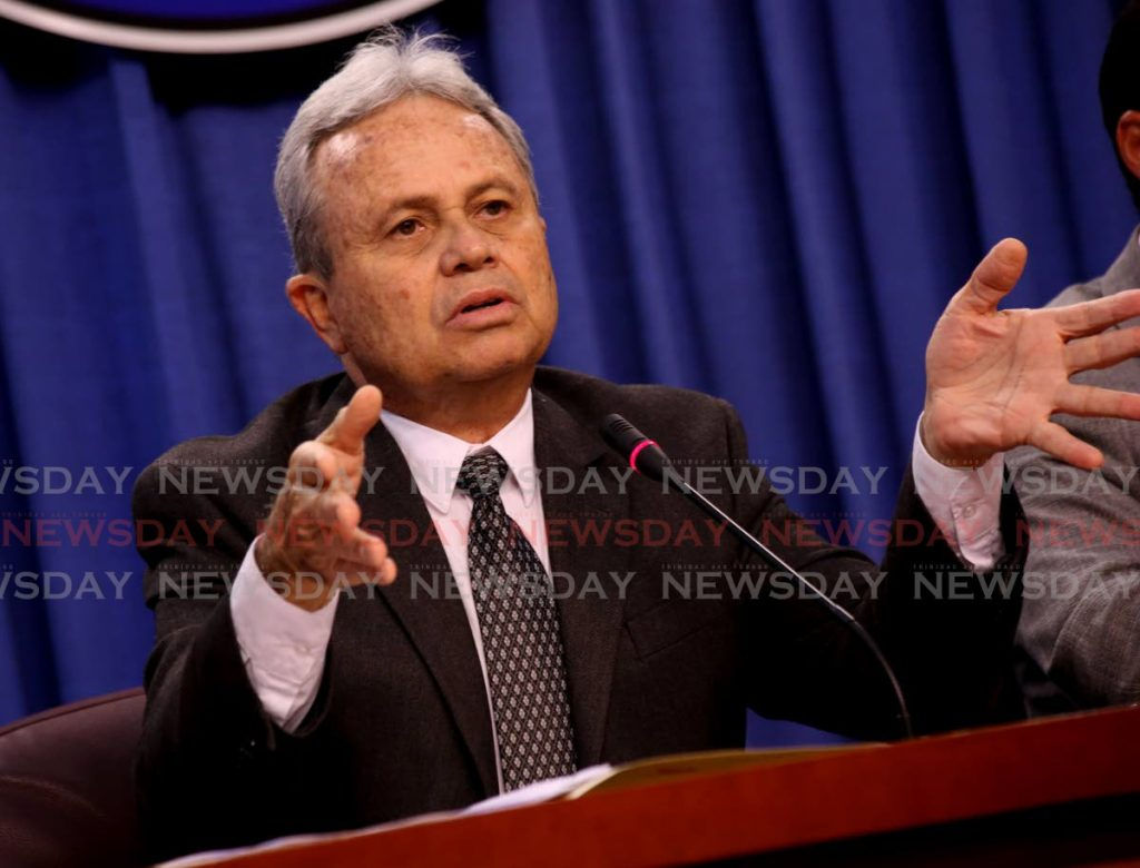 Finance Minister Colm Imbert speaks at a post-cabinet press briefing at the Diplomatic Centre, St Ann's, Port of Spain, Thursday. - SUREASH CHOLAI