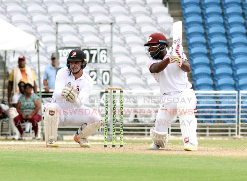 Leeward Islands Hurricane's captain Jahmar Hamilton watches on after playing a shot against the TT Red Force, during the CWI Regional Four-Day tournament match, at the Brian Lara Cricket academy,Tarouba,on Thursday. - Vashti Singh