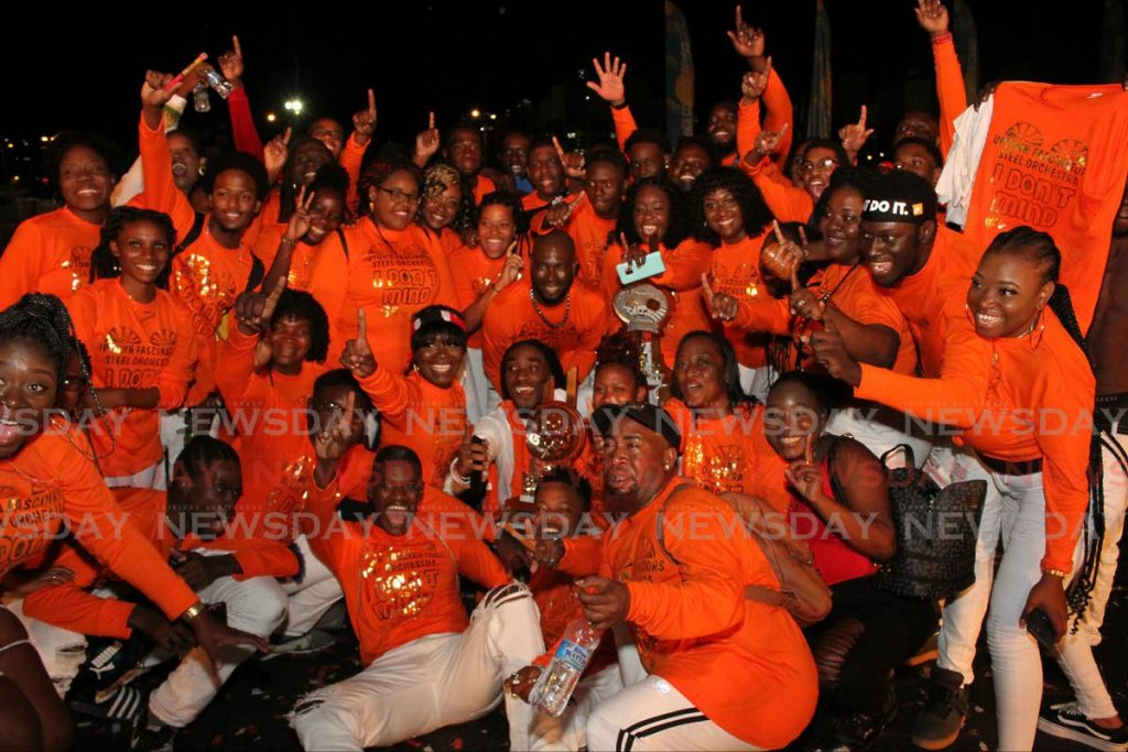 Uptown Fascinators Steel Orchestra celebrate winning the Conventional Small Bands Final at the Queen's Park Savannah - Angelo Marcelle