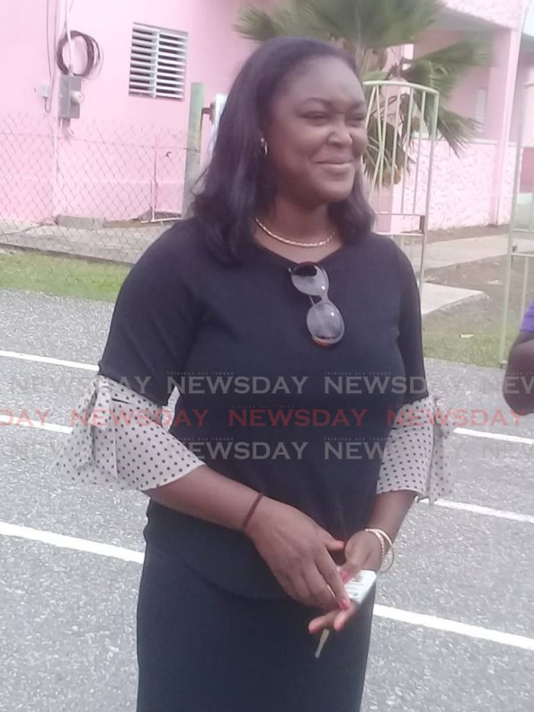 NO INK:Contender for the post of political leader of the People's National Movement's Tobago Council, Tracy Davidson-Celestine leaves the Argyle Community Centre after voting in the party's internal election on Sunday - Corey Connelly