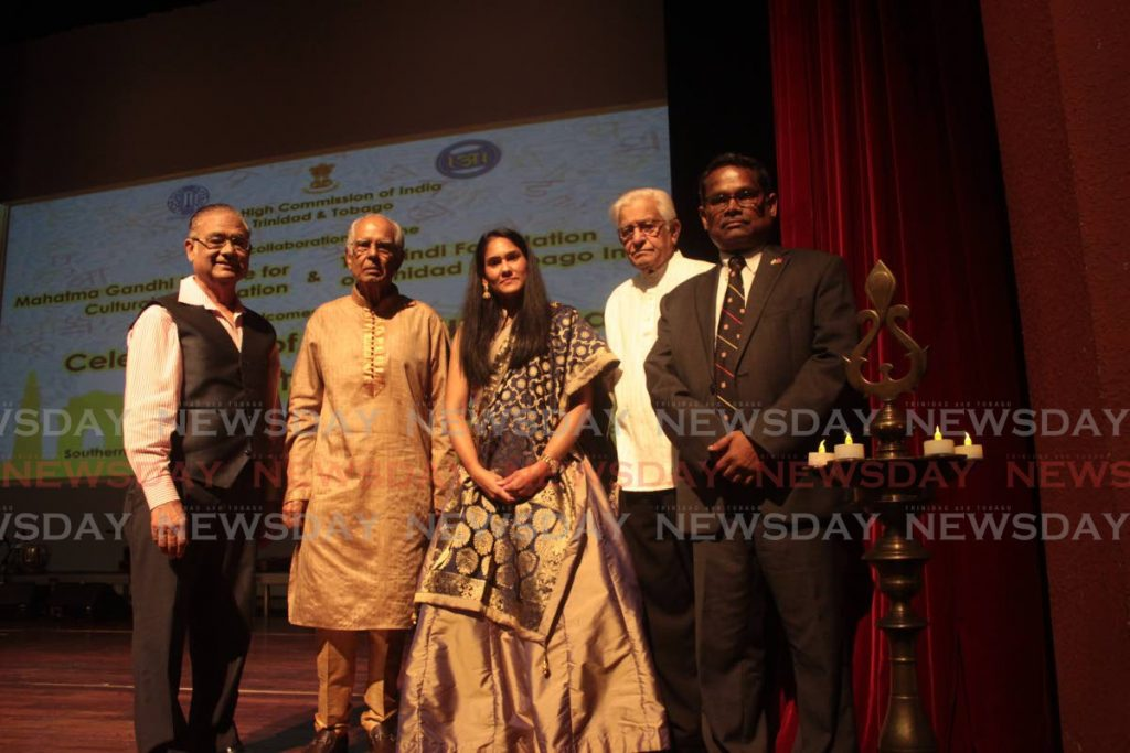 WORLD HINDI DAY: From left, president of the TT Hindi Foundation  Chanka Seeterram, president of the National Council for Indian Culture Dr Deokinanan Sharma of NCIC, deputy mayor of San Fernando Dr Ferri Hosein, former prime minister Basdeo Panday and  India's High Commissioner to TT Arun Kumar Sahu, at the Southern Academy for the Performing Arts.  -