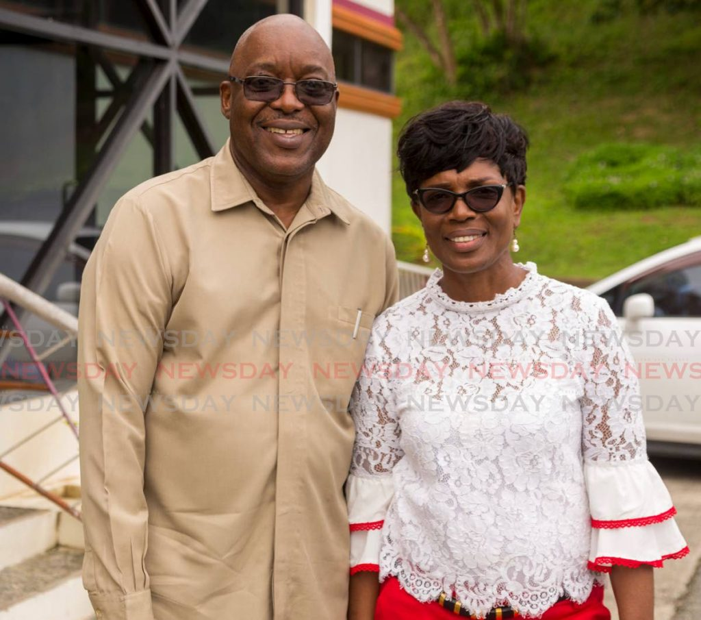 Chief Secretary and incumbent leader of the PNM Tobago Council Kelvin Charles and his wife, Catherine, after voting in the PNM internal elections on Sunday at the Bethesda Multipurpose Facility, Plymouth. PHOTO BY DAVID REID  - DAVID REID