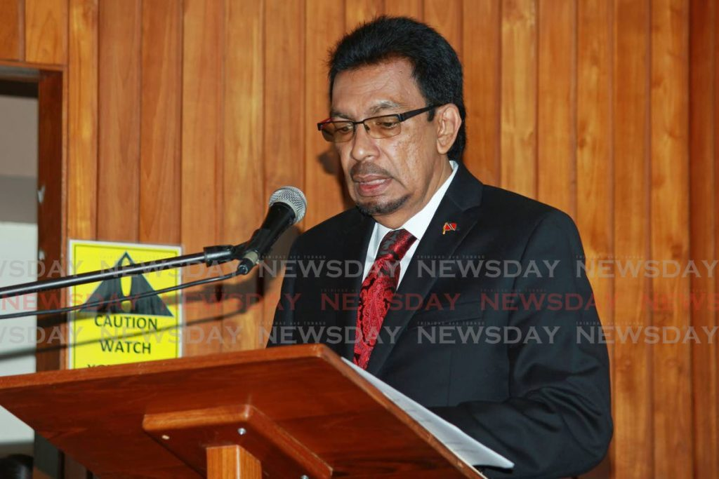 Minister of Rural Development and Local Government, Kazim Hosein speaks to local government representatives at the San Fernando city hall auditorium on Tuesday.  - CHEQUANA WHEELER