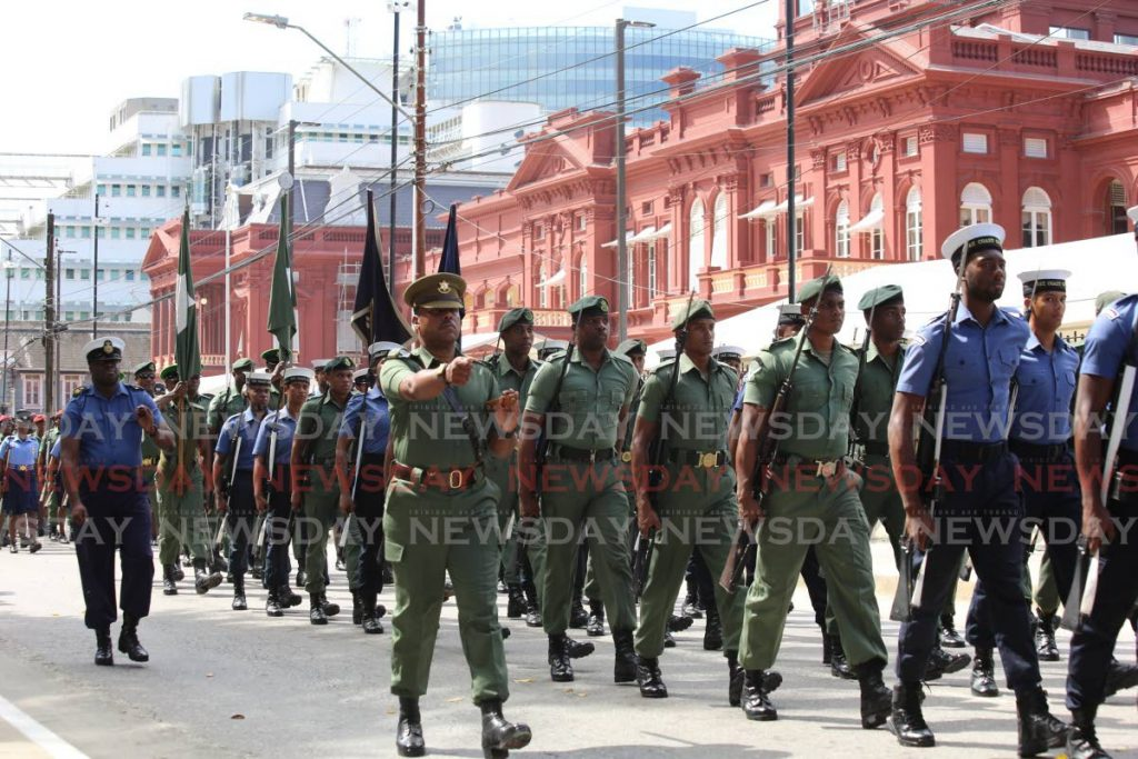 Several streets was block off around the Red House as members of the military practice their parade for the ceremonial opening of parliament on Friday. PHOTO SUREASH CHOLAI - Sureash Cholai