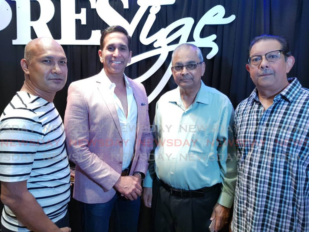 From left, Nigel R. Khan, Attorney General Faris Al-Rawi, TOSL CEO Shazan Khan and Southern Sales Ltd CEO Imtiaz Ahamad at the launch of Presentation College San Fernando's all-inclusive fete on Tuesday at the 519 Restaurant, C3 Plaza.  - Yvonne Webb