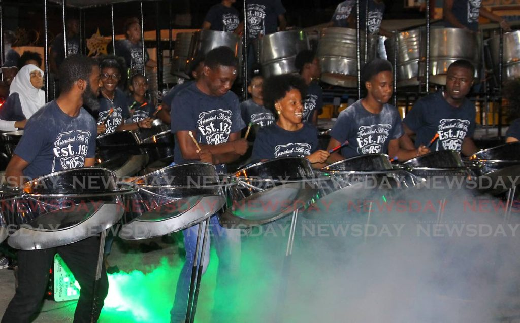 Energetic TASSO Youths play The Fog by Machel Montano, arranged by Kygel Benjamin, at the preliminary judging session of the northern region for National Junior Panorama 2020 at Trinidad All Stars panyard, Duke Street Port of Spain on Wednesday. PHOTO BY ROGER JACOB. - ROGER JACOB