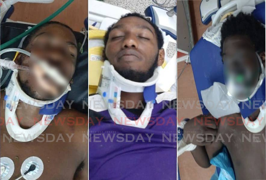 INJURED: This composite photo, posted to social media, shows three men at hospital after being pulled from the wreck on an accident on January 15, which claimed the lives of Dr Rudradeva Sharma and Akeem Marine. The man in the middle, Antonio Francois, appeared in court on Thursday charged with the murders of Dr Sharma and Marine. The faces of the other men were blurred by Newsday.  -