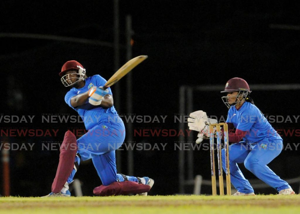 In this Feb 2,2016 file photo Lee-Ann Kirby plays a shot during a West Indies women's team warm-up match at 3Ws Oval in Barbados, on February 2, 2016. - CWI Media