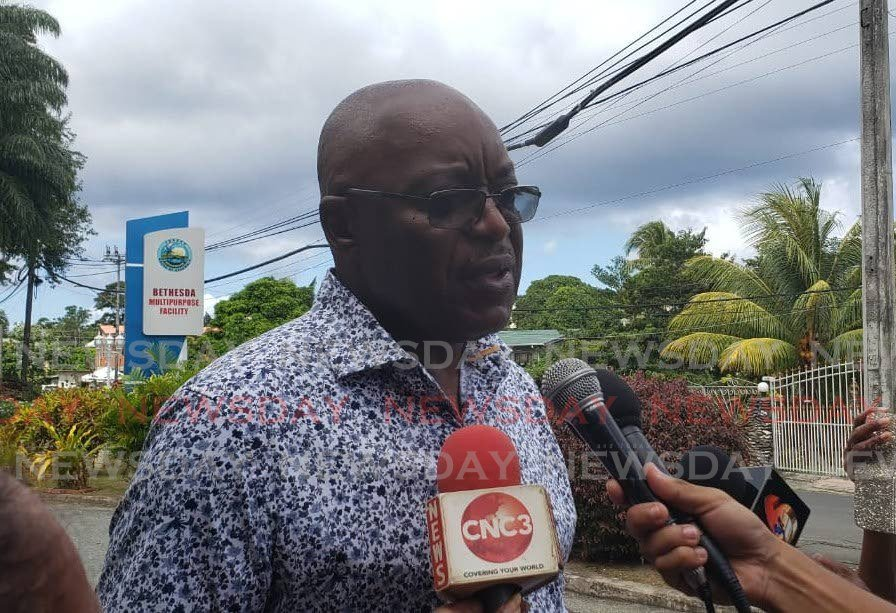 Incumbent PNM political leader Kelvin Charles speaks to the media after voting at the Bethesda Multipurpose Facility on Sunday. PHOTO BY KINNESHA GEORGE-HARRY  - KINNESHA GEORGE-HARRY