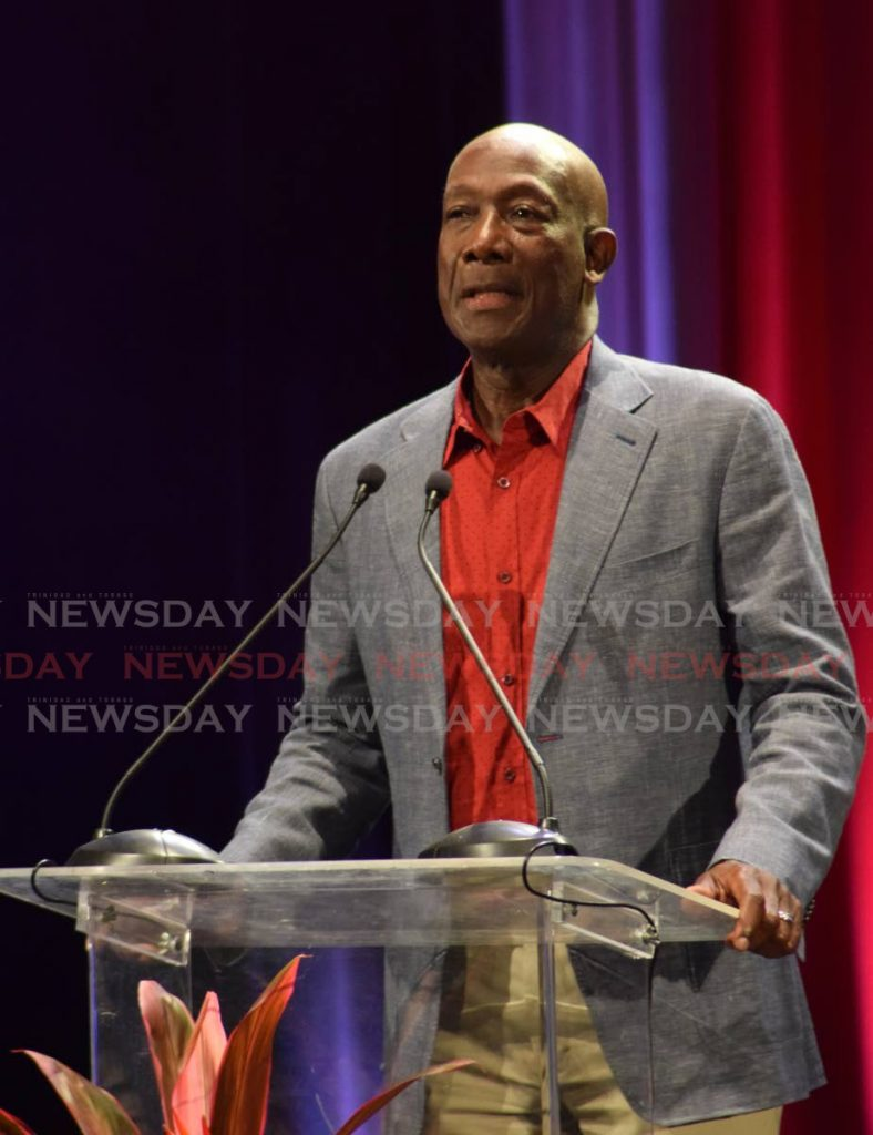Prime Minister Dr Keith Rowley addresses PNM members and supporters at the party's 64th anniversary celebration at NAPA in Port of Spain on Sunday.  PHOTOS BY VIDYA THURAB  address at the PNM's 64th anniversary celebrations held at NAPA on Sunday evening. - Vidya Thurab