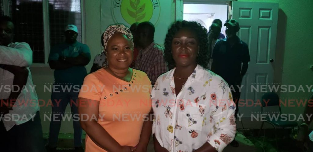 Newly-elected PNM Tobago Council leader Tracy Davidson-Celestine (right) with former opponent Dr Denise Tsoiafatt-Angus after the results were declared on Sunday.  PHOTO BY KINNESHA GEORGE-HARRY - KENNISHA GEORGE-HARRY