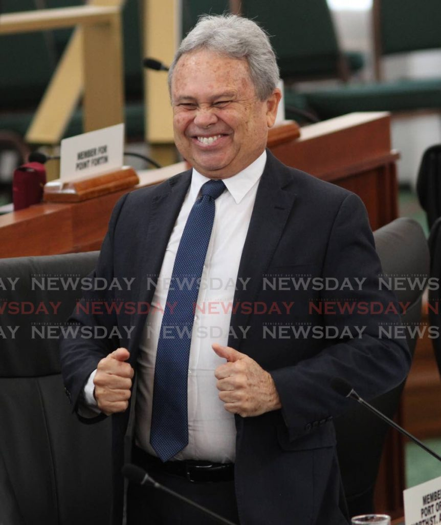 HAPPY MAN: Finance Minister Colm Imbert in a happy mood prior to the start of the sitting of the House of Representatives on Monday at the Red House. PHOTO BY AYANNA KINSALE - Ayanna Kinsale