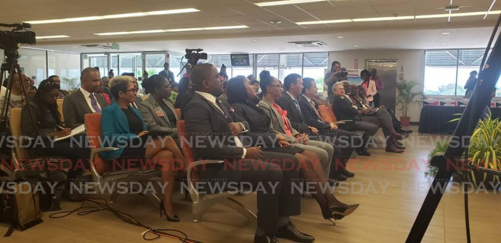 Attendees at Tuesday's signing ceremony at the International Departure Gate of the ANR Robinson International Airport in Crown Point, Tobago - Kinnesha George-Harry