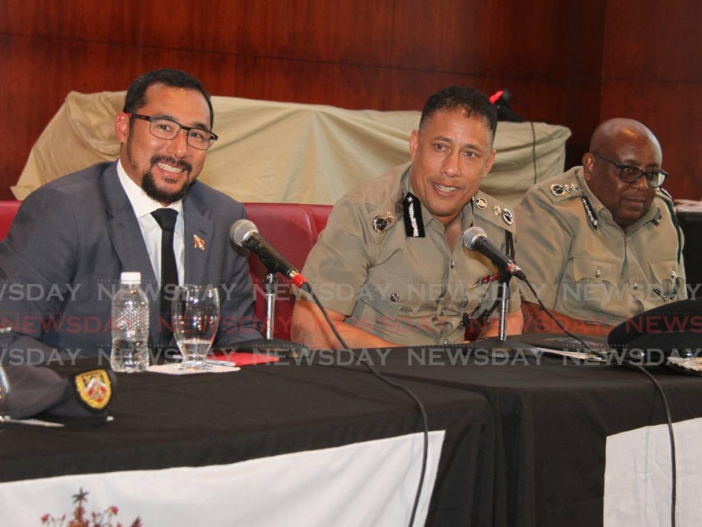 From left, Minister of National Security Stuart Young, Commissioner of Police Garry Griffith and Acting Commissioner of Prisons (Ag.) Dane Clarke during a press conference at NAPA, Port-of-Spain on Tuesday. - Ayanna Kinsale