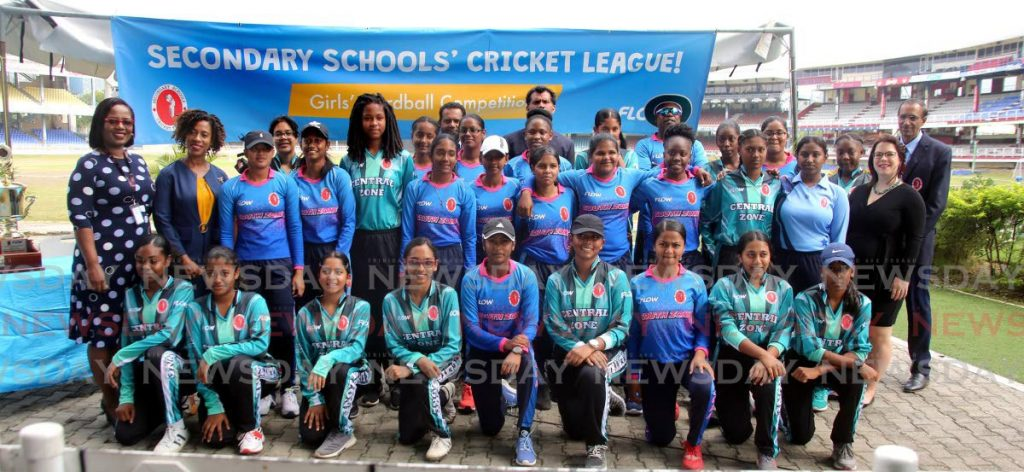 At the launch of Flow's Secondary Schools Cricket League (SSCL) at the Queen's Park Oval, students of Central Zone, the defending champions and South Zone, the 2017 and 2018 champions, pose for a group photo with officials of Flow and the SSCL. PHOTO BY SUREASH CHOLAI - Sureash Cholai
