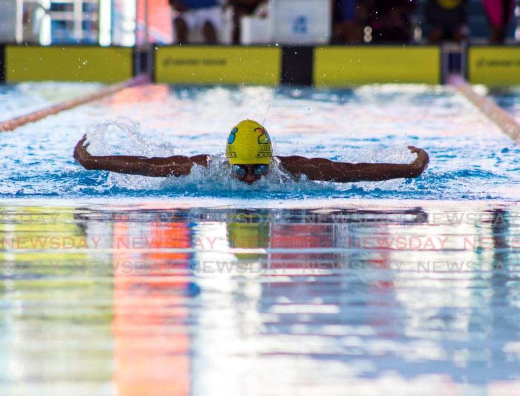 In this February 3, 2019 file photo, Giovanni Rivas competes in the 100m butterfly, in the 11-12 age category, at the Torpedoes 1st Annual Long Course Swimming competition, at the National Aquatic Centre, Balmain, Couva.  - Melanie Waithe