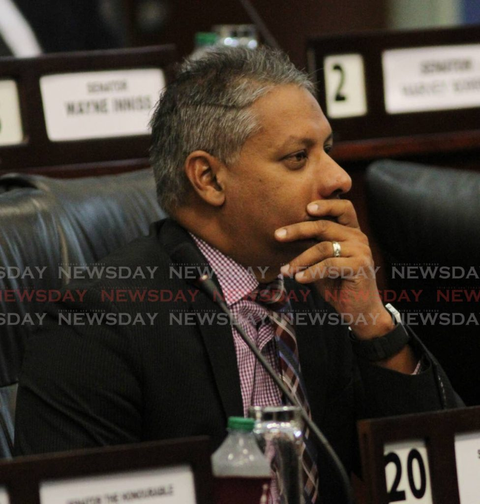 Agriculture Minister Clarence Rambharat in the Senate. The minister expressed concern about