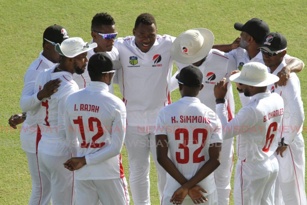 In this Jan 10 file photo, TT Red Force players huddle together prior to their CWI Regional Four-Day match against Jamaica Scorpions, at Brian Lara Cricket Academy, Tarouba. Red Force take on Windward Island Volcanoes, on Thursday, at Windsor Park, Dominica. - Marvin Hamilton