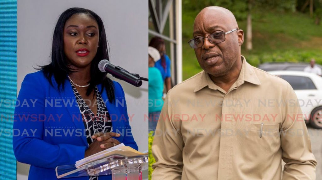 PNM political leader Tracy Davidson-Celestine, left, has called on Chief Secretary Kelvin Charles, right, to step down after losing the PNM internal election. - DAVID REID