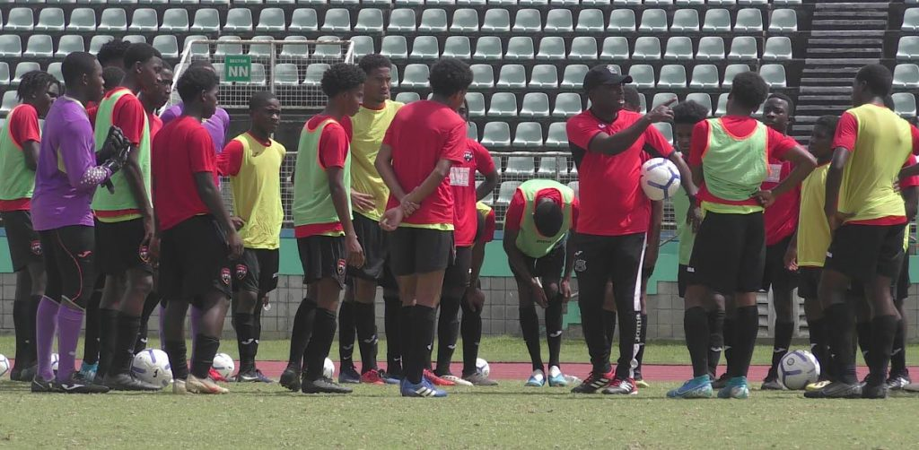 Head coach Angus Eve speaks to members of the national Under-17 football squad which assembled for the first training session for 2020 at the Manny Ramjohn Stadium, Marabella on Saturday. Photo by TTFA Media.  -  Photo by TTFA Media