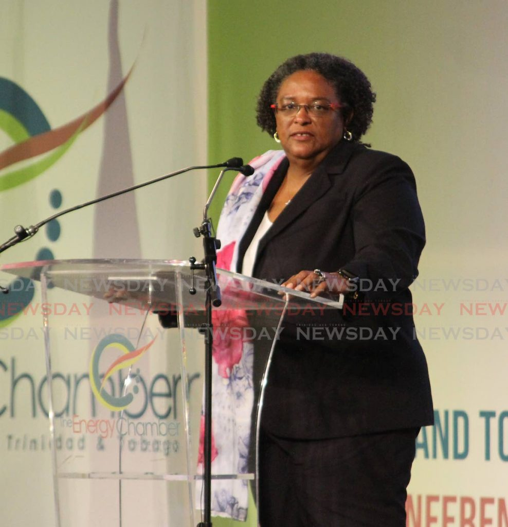 Mia Mottley, Caricom chairman and Prime Minister of Barbados, speaks at the opening of the TT Energy Conference 2020 at Hyatt Regency, Port of Spain on Monday.  -