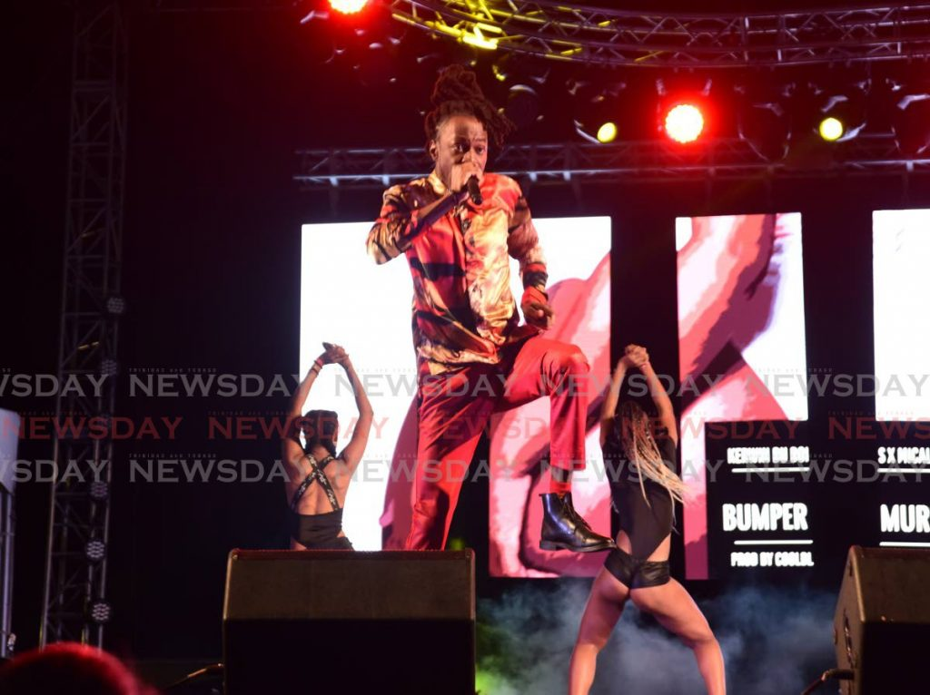Mical Teja performs Bumper Murder at the International Soca Monarch semifinals, Arima Velodrome on February 2. - AYANNA KINSALE
