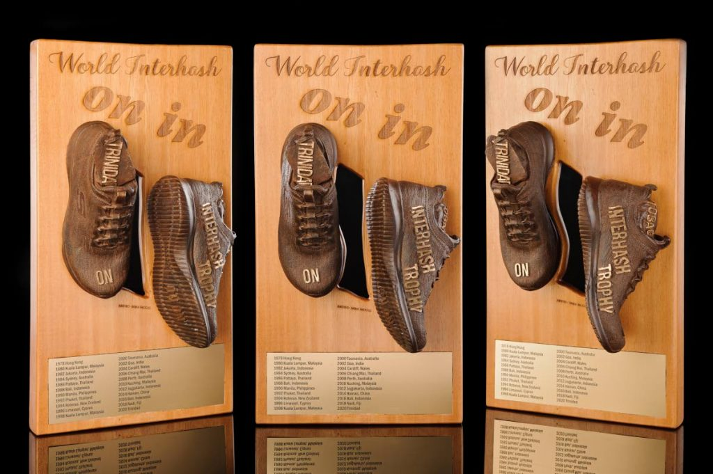 The World Interhash trophy designed by TT dentist Dr Mike McGee. -