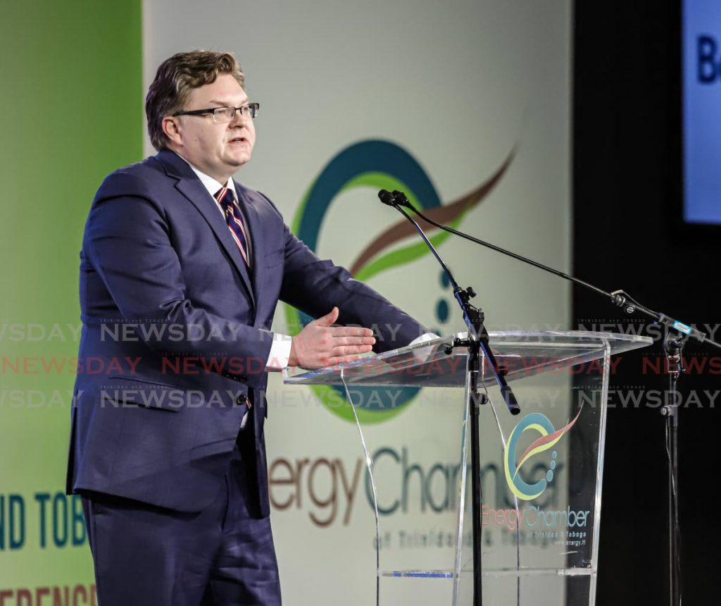 Shawn Bennett, deputy assistant secretary for oil and natural gas at the US Department of Energy addresses the audience at the TT Energy Conference 2020 at the Hyatt Regency, Port of Spain on February 4. - JEFF K MAYERS