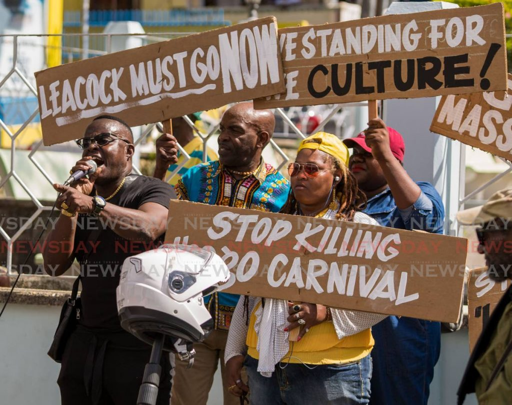 Ainsley King, left, president of TUCO Tobago, leads a protest in Scarborough last week calling for more funding for the organisation's 2020 Carnival events. PHOTO BY DAVID REID  - DAVID REID