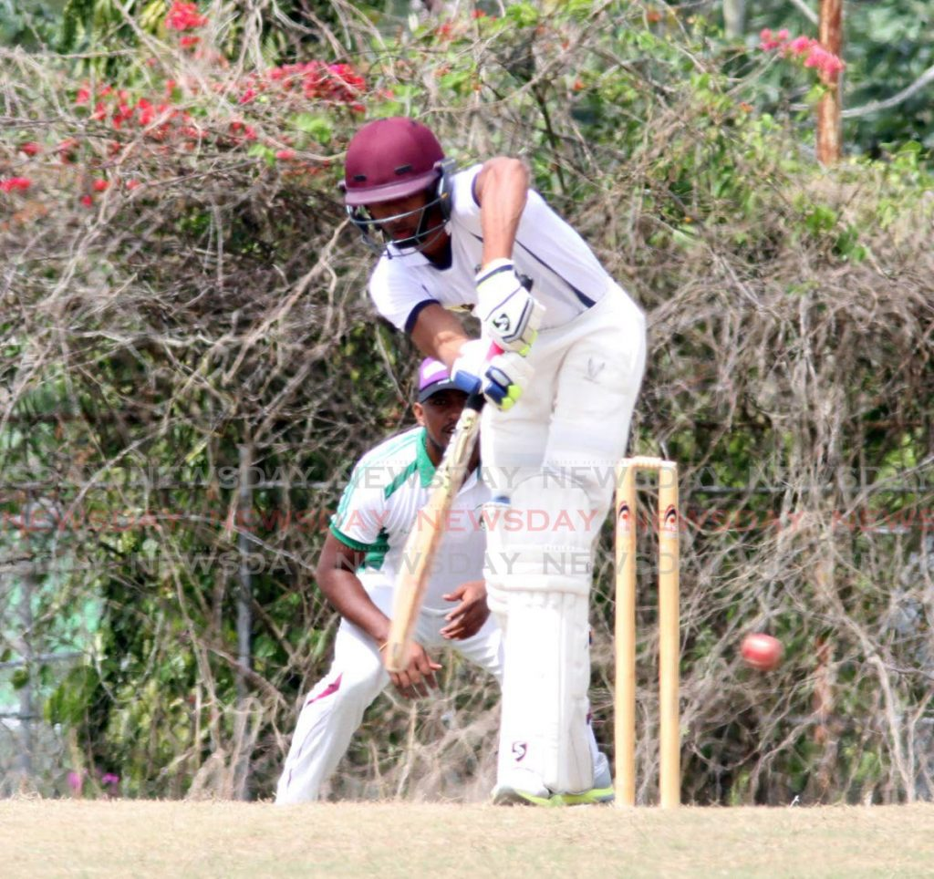 Videsh Sookhai of Preysal plays a shot in round one of the TT Cricket Board National League Premiership I match against First Citizens Clarke Road at the Inshan Ali Park in Preysal, Couva, last weekend. Photo by Vashti Singh - Vashti Singh