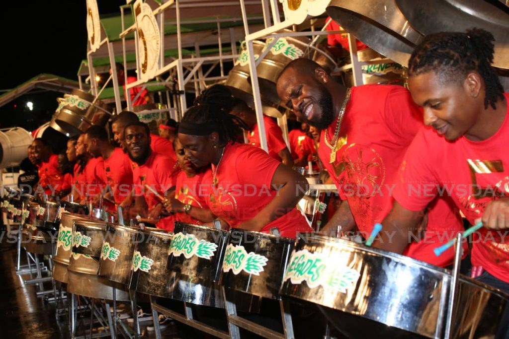 Bp Renegades performs Skinny Banton's Wrong Again at the Panorama Large Band Semifinals on Sunday at the Queen's Park Savannah. - Sureash Cholai