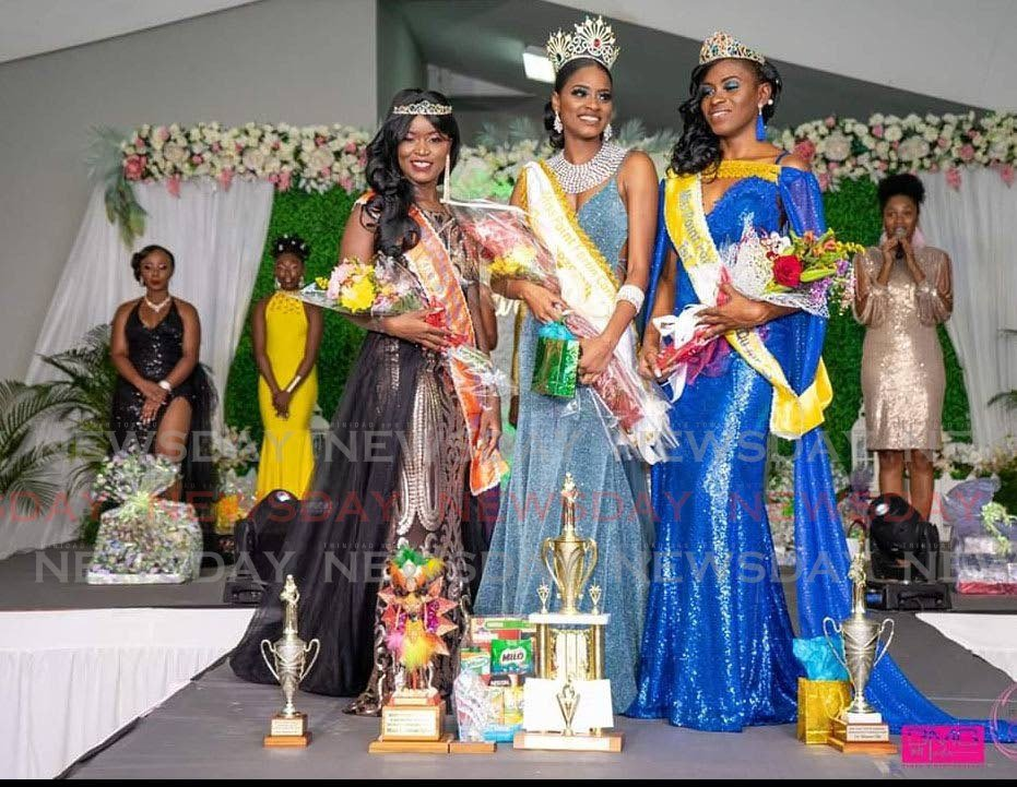 Miss Point Fortin Carnival queen Alysha Wilson, centre; second runner up Celine Bonaparte, left; and first runner up, Leslie Ann Meade. - BMG media