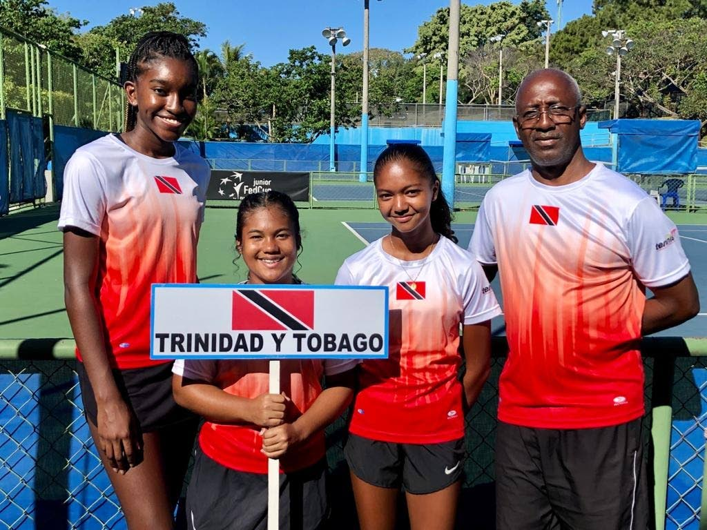 TT's Jr Fed Cup Pre-Qualifier team, L-R, Aalisha Alexis, Keesa Lee Young, Cameron Wong and coach Anthony Jeremiah. -